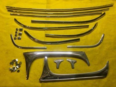 Детали хрома люкс на лобовое и заднее стекло ГАЗ-21 (ОРИГИНАЛ/ПЕРЕХРОМ) к-кт