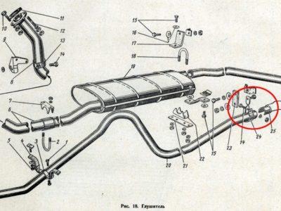 Хомут выпускной трубы глушителя ГАЗ-21