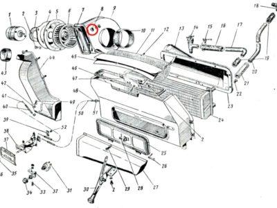 Втулка основания корпуса вентилятора отопителя